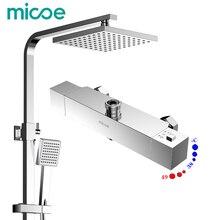Micoe Latón de Agua Termostático Ducha de Lluvia Set Grifo + Grifo Mezclador para Bañera + Ducha de Mano Montado En La Pared BathroomM-A10326-1D