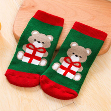 Baby Girls Boys Kids Socks Children Striped Terry Snowflake Elk Santa Claus Christmas Bear