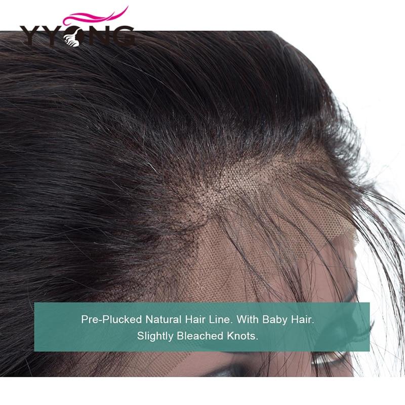 Brazilian Body Wave 360 Snörning Frontal Closure Med Bundle - Mänskligt hår (svart) - Foto 5