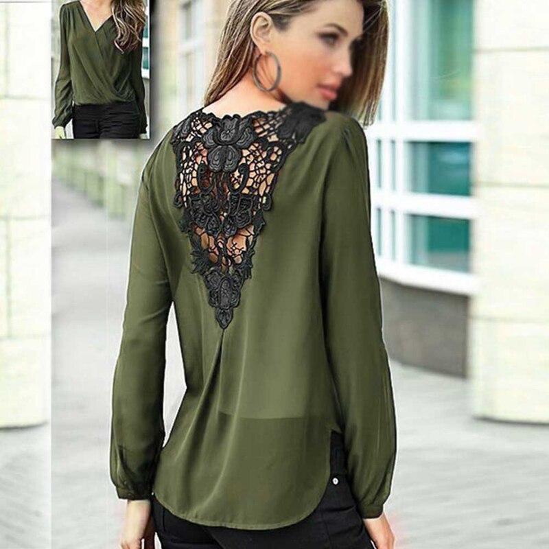 Elegant Blouses Lace Tops Chiffon Women Vintage 2018 Long Sleeved V Neck