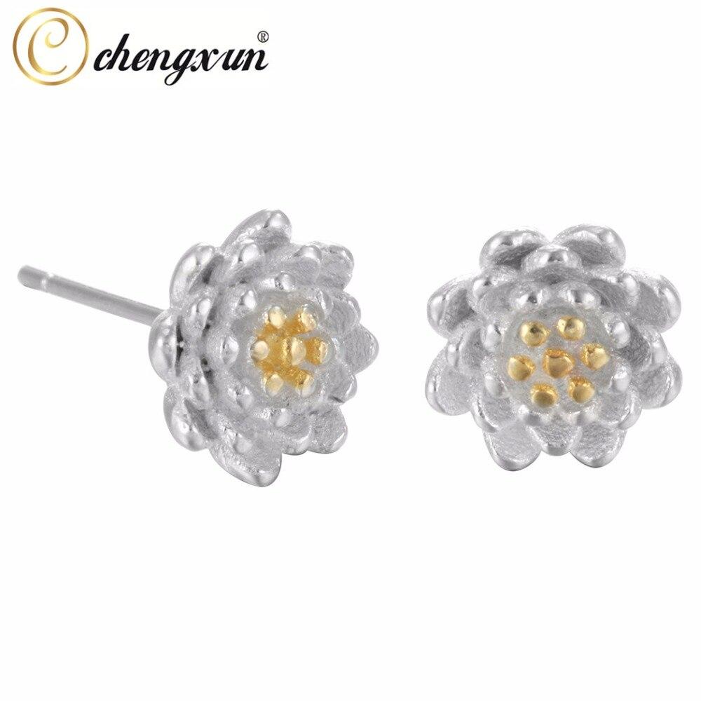 CHENGXUN 925 Silver Gold Blossom Flower Stud Earrings White Water Lily Lotus Earrings For Women