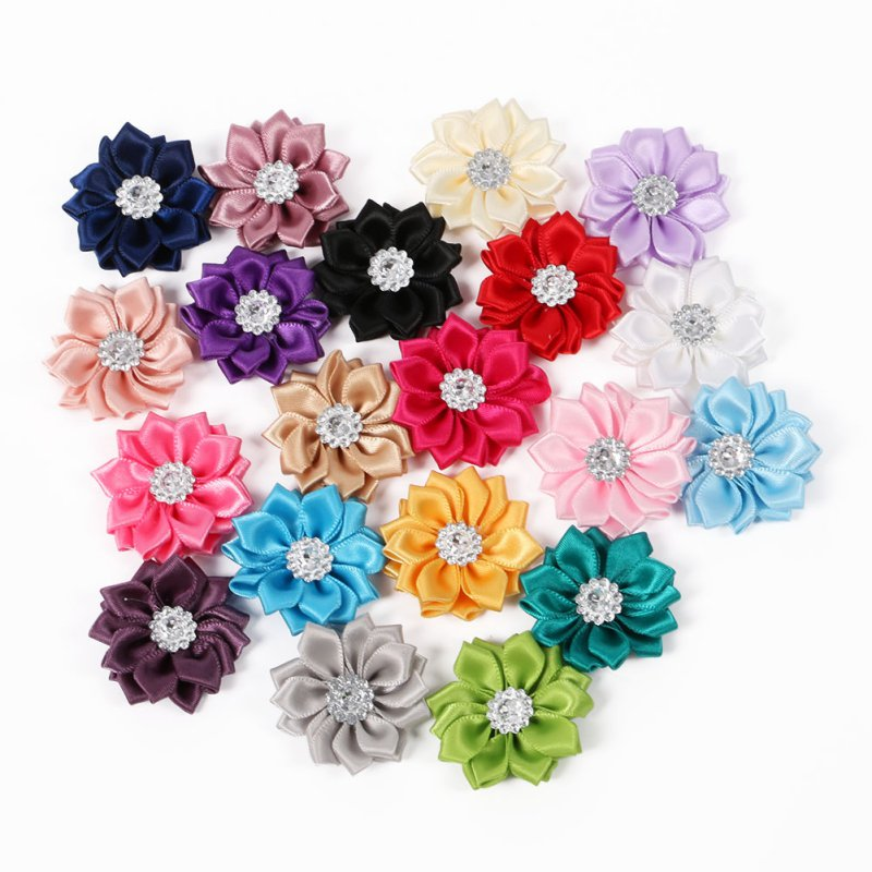 20 PCS/SET Satin Flower WITHOUT Clip Fabric Flower Rhinestone Baby Girls Headbands Appliques Garment Accessories