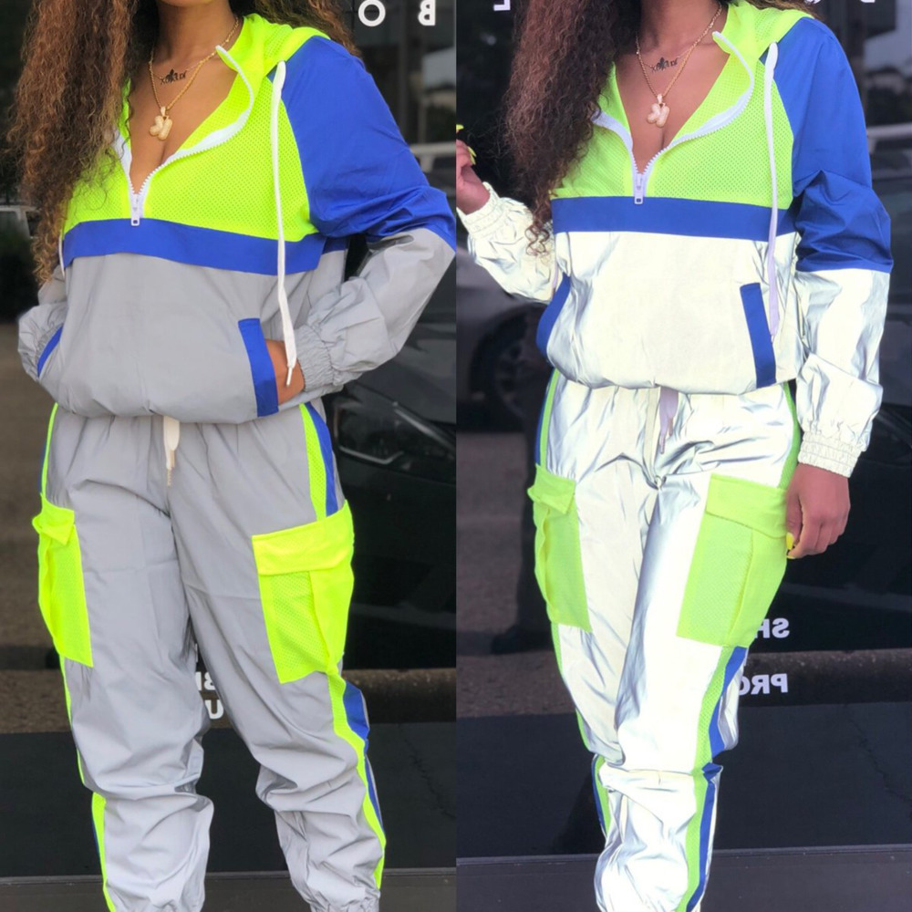 Women Tracksuits 2 Piece Set Reflective Zip Crop Jacket Pants Hip Hop Fashion Female Loose Neon Green Coat Trousers Plus Size