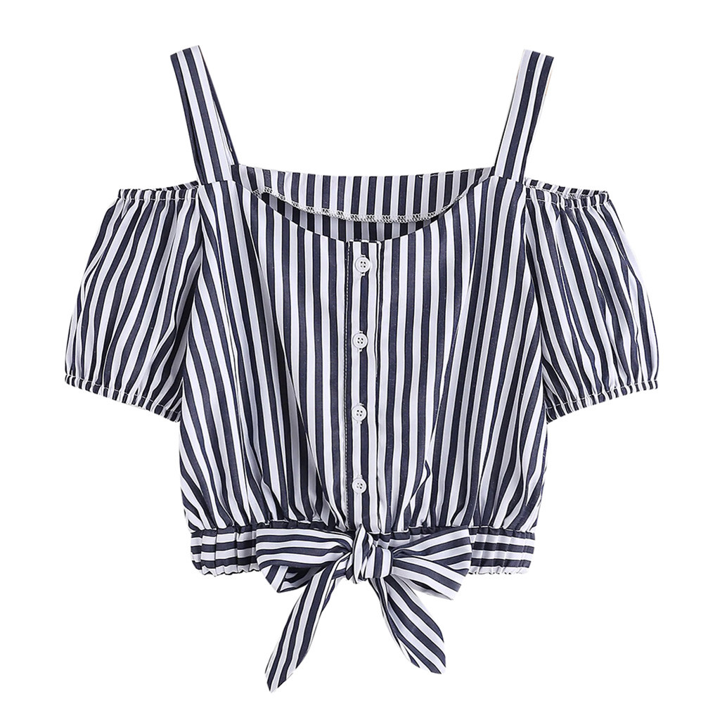 Short Sleeve Striped Women tshirt Womens Summer Off Shoulder Button casual T Shirt Top 2019 new arrival slim soft touch t-shirt