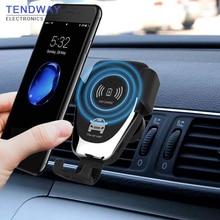 Tendway Qi Беспроводной автомобиля Зарядное устройство Быстрое беспроводное зарядное устройство для автомобиля крепление, устанавливаемое на вентиляционное отверстие в салоне автомобиля гравитационного дизайн держатель телефона для iPhone X/XS/XR/S9/S9