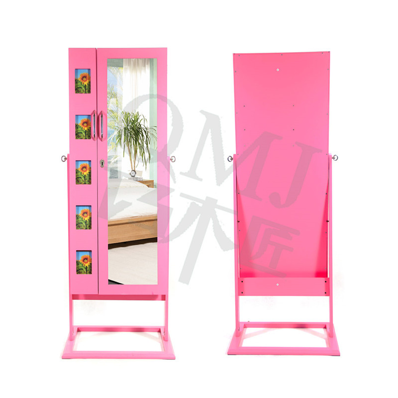 NEW Luxury Large floor standing mirror jewelry cabinet wall pink ...