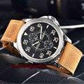 Мужские светящиеся механические часы Parnis  водонепроницаемые часы из стали и кожи  44 мм