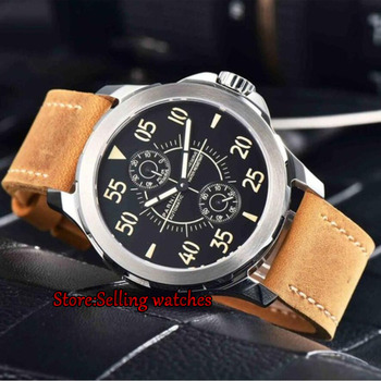 Parnis 44mm Luminous Mechanical Watches Men's Power Reserved Sapphire Steel Leather Waterproof Watches