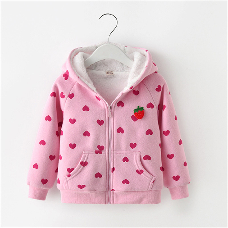 BibiCola Girls Warm Jacket Autumn Winter Kids Casual Cotton Thick Velvet Hoodied For Baby Girls Children Sport Outerwear Coats