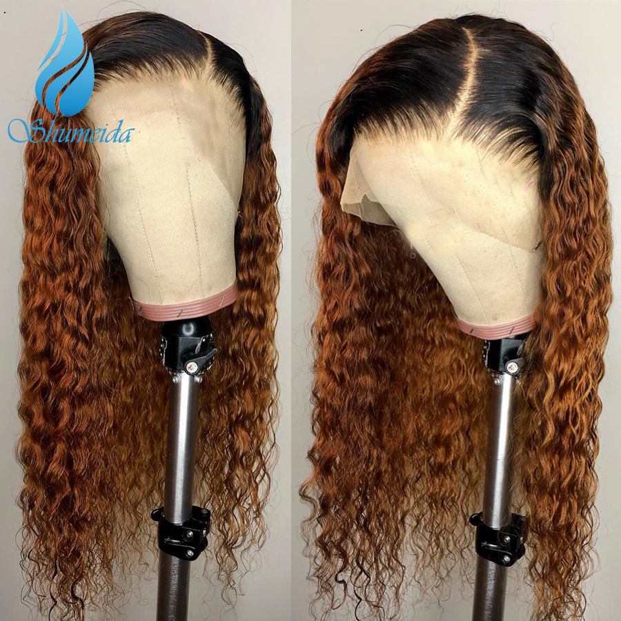SHD 13 6 Lace Frontal Wig Ombre Color Wigs Curly Human Hair Wigs Pre Plucked Brazilian