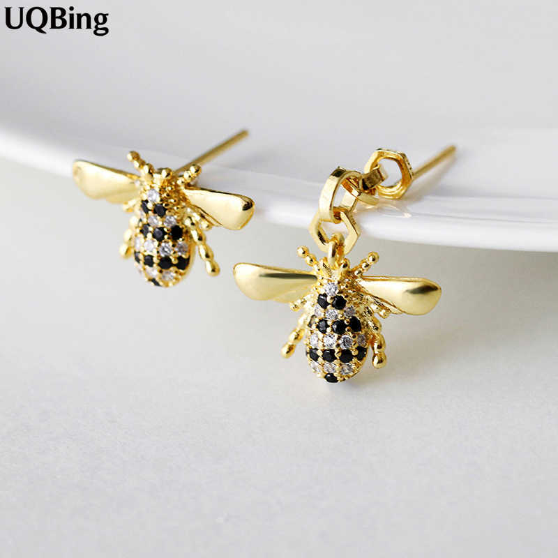 Free Shipping New Arrivals 925 Sterling Silver Asymmetry Bee Stud Earrings For Women Jewelry Pendientes Brinco