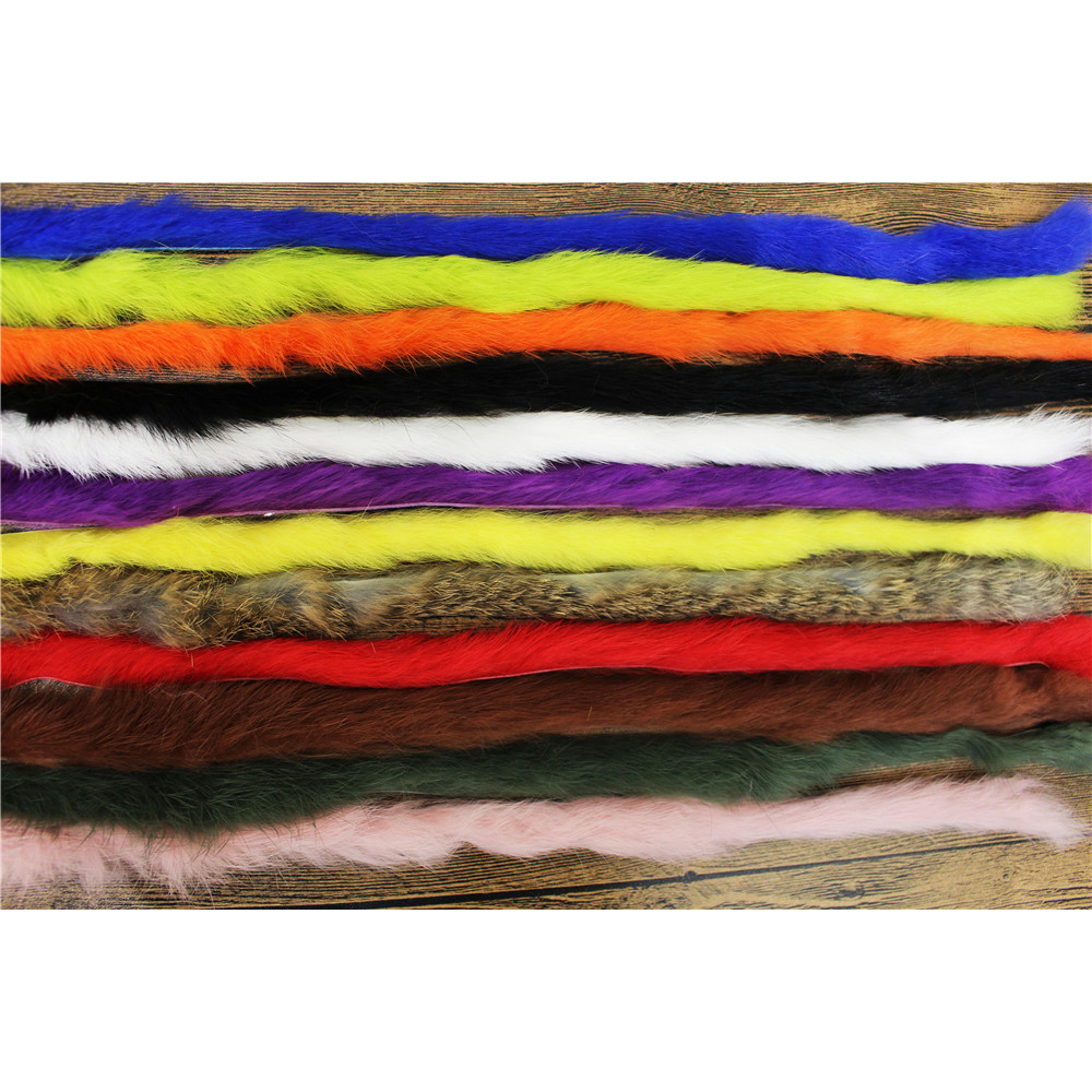 Tigofly Top Quality 12 Colors Straight Cut Rabbit Zonker Strips 5MM Width Genuine Hare Hair Fur Streamers Fly Tying Materials