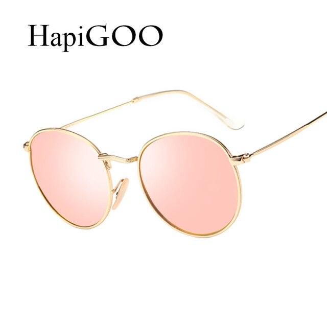 3b99c04e4acf7 HapiGOO Rodada Polarizada Óculos De Sol Das Mulheres Designer de Marca Do  Vintage Ouro Rosa Revestimento
