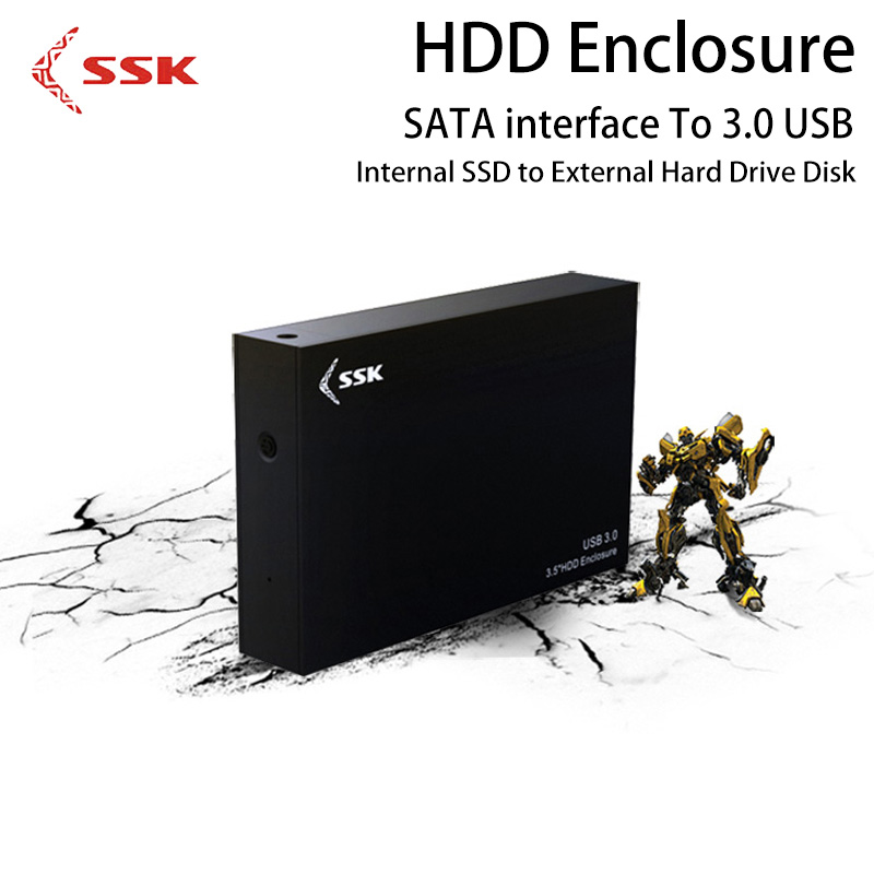 SSK HDD Enclosure 3.5 Inch SATA To 3.0 USB Internal SSD to External Hard Drive Disk Case HE-G3000 Hard Disk Box for Computer D ugreen hdd enclosure sata to usb 3 0 hdd case tool free for 7 9 5mm 2 5 inch sata ssd up to 6tb hard disk box external hdd case