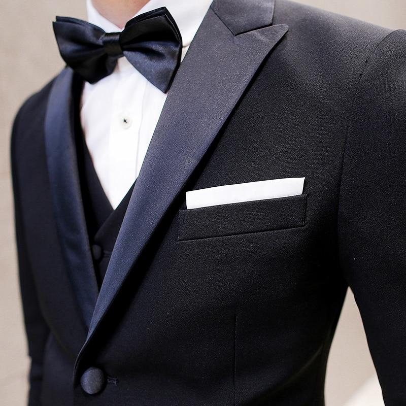 2017 Black Tuxedo Mens Tweed Jackets Mens Black Mens Suits Slim ...