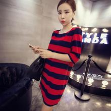Fashion New Women Red White Half Sleeve Round Neck Loose T Shirt Tops Women's Long Loose One-Piece Dress T-shirt Plus measurement