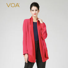 Casual red Cardigan for women VOA long sleeve bow collar silk blouse plus size satin shirts B6362