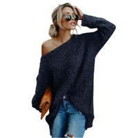 Autumn Winter Hairy Sweater Women Off One Shoulder Long Sleeve Solid Loose Cashmere Sweater Knitted Female