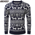 Autumn Winter Fashion O-Neck Men Sweater With Deer Printed Casual Bottoming Male Pullovers Warm Cotton Thick Pull Homme MXD0245