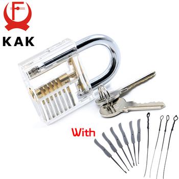 KAK przezroczysty widoczny Pick Cutaway praktyka blokada kłódki z uszkodzonym kluczem usuwanie haczyków zestaw do zamka zestaw wytrychów narzędzie ślusarskie tanie i dobre opinie KAK-LT5-W Kłódki Keyed 7 8 x 5 x 2 3cm Metalworking White Transparent Practice Padlock Lock With Broken Key Removing Hooks