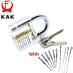 KAK Transparent Visible Pick Cutaway Practice Padlock Lock With Broken Key Removing Hooks Lock Kit Extractor Set Locksmith Tool