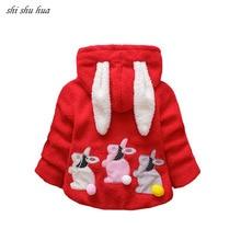 2019 Hot Sale Child Outerwear Boy Girl Double Sided Plus Velvet Warm Cartoon Rabbit Ear Shape Jacket Coat Baby Quality Clothing
