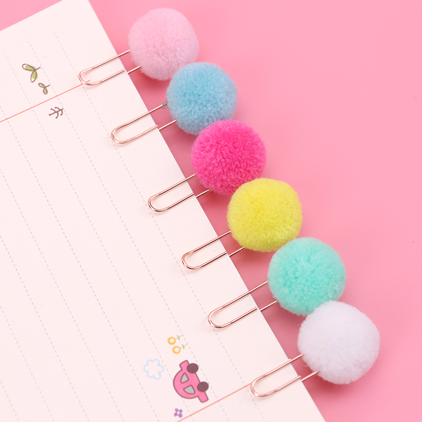 3PCS Cute Hairball Rose Gold Clips Modelling Paper Clip Fashion Business Office Lady Style Office Stationery