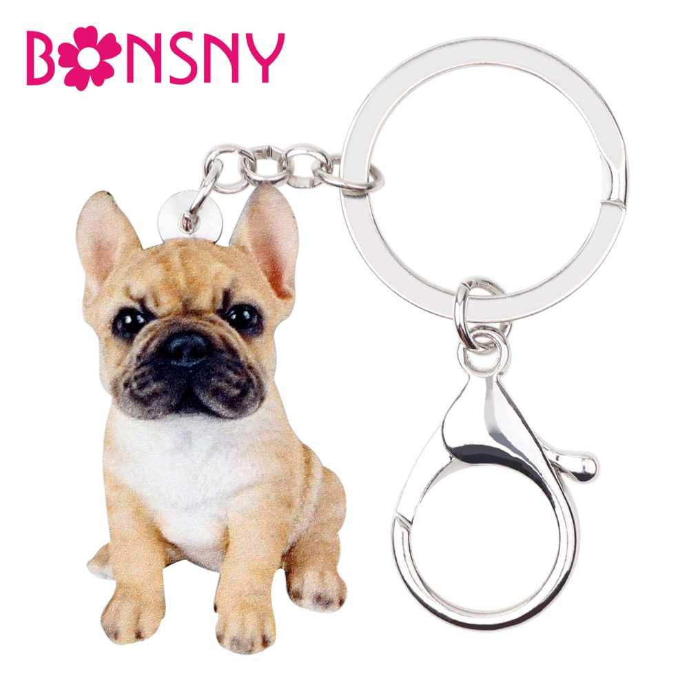Bonsny Acrylic Sitting French Bulldog Puppy Dog Key Chains Keychain Rings Animal Jewelry For Women Girls Handbag Car Charms Pets