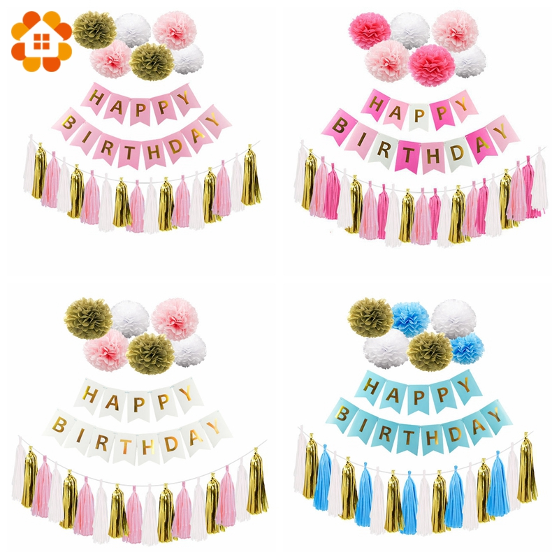 1Set Happy Birthday Banner Multi Type Tissue Paper Tassel Garlands Paper Pompoms Decoration Bunting For Birthday Party Supplies