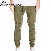 Skinny Joggers Men Slim Fit Harem Jogger Pants Cotton Twill Mens Army Green Drop Crotch Casual Pants Elastic Waist