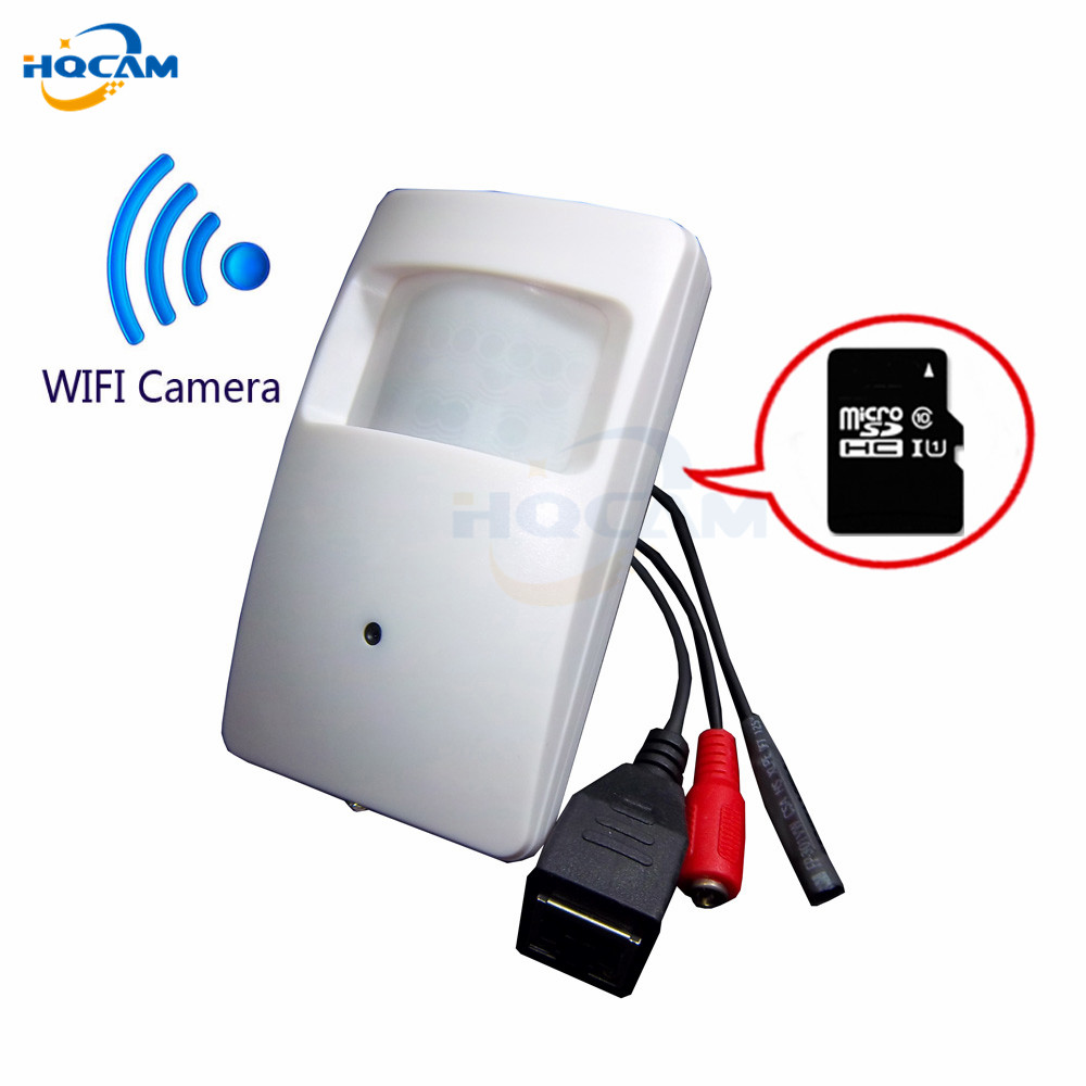 Hqcam TF SD карта беспроводной 720 P Wi-Fi P2P мини IP Камера безопасности Wi-Fi Indoor видеонаблюдения карты памяти Камера внешний микрофон PIR модель