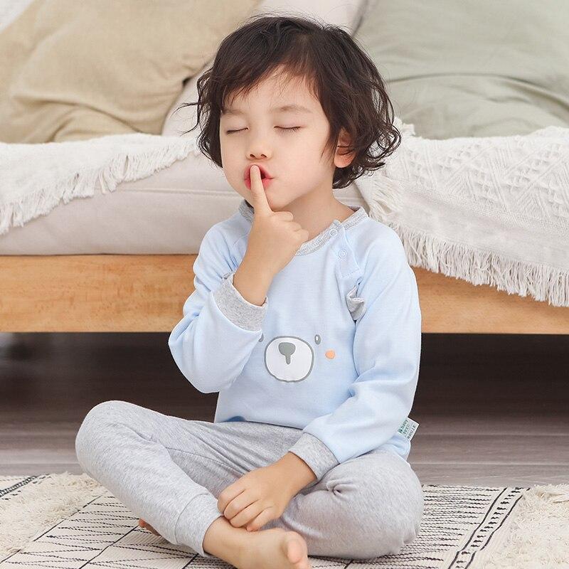 2 pçs/set Pijamas infantis Para Meninas Pijamas Infantil Pijamas de Algodão Crianças Pijamas Do Bebê Ajustado Para Meninos Ternos de Roupas Íntimas