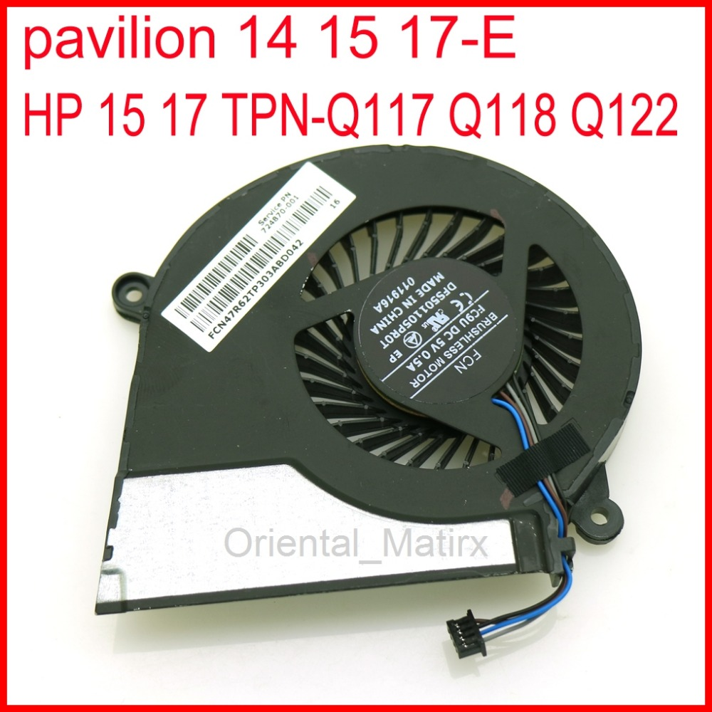 724870-001 725684-001 Notebook Cooling Fan DC 5V 4 Pin Laptop CPU Cooling Fan For TPN-Q117 Q118 Q122 15-E043CL 17-E020DX