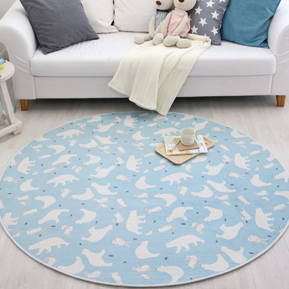 White Bear Carpet Rugs Nordic Style Living Room Bedroom Soft Thicken Round Carpets Kids Living Room Non-slip Absorbent Mat
