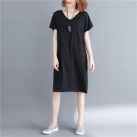 BUYKUD Summer New Plus Size 5XL Dress Women Solid Basic Loose V Neck Cross Backless Mid Long Cotton Short Sleeve Dress