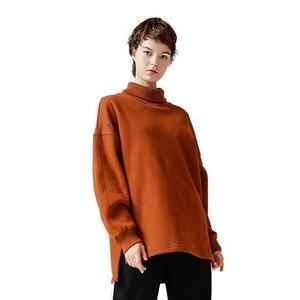 Image 2 - Toyouth Sudadera larga con capucha para mujer, suéter informal con letra de Color sólido bordado, suéter de cuello alto, sudaderas holgadas para mujer 2019