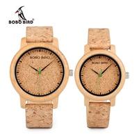 BOBO BIRD Lovers zegarki drewniane zegarki ręcznie korkowy pasek bambusowy zegarek damski luksusowy w pudełku zaakceptuj Logo Drop Shipping