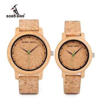 BOBO oiseaux amoureux montres en bois montres à la main bracelet en liège bambou femmes montre de luxe dans la boîte accepter Logo livraison directe