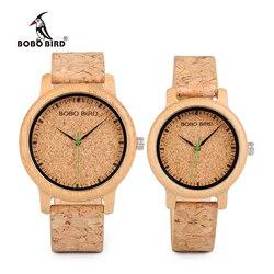 Bobo amantes do pássaro relógios de madeira artesanal cortiça cinta de bambu relógio feminino luxo na caixa aceitar logotipo transporte da gota