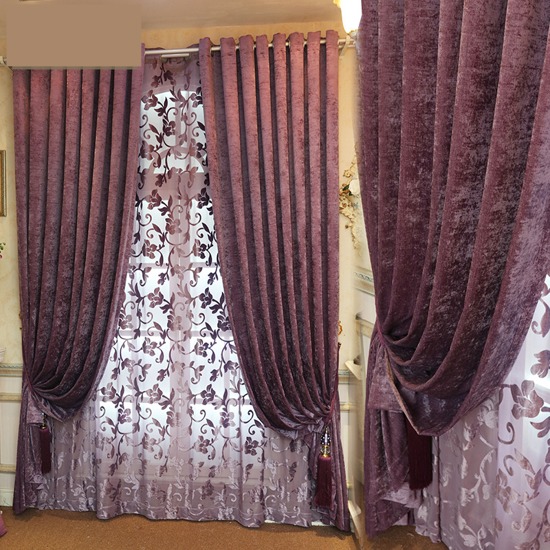 Custom Curtain The Color Purple Velvet Plain Simple Modern Living Room Bedroom Curtains Solid Thick