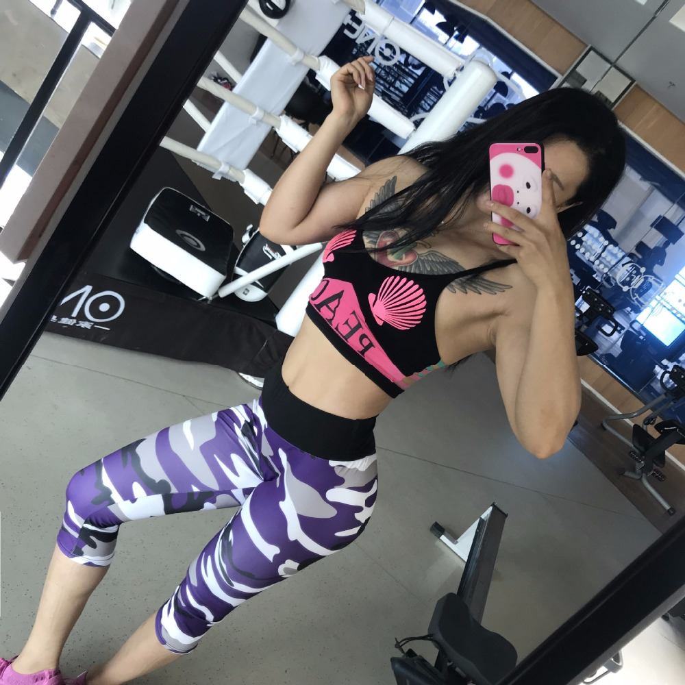 2018 New Camouflage Print Sport Pants Push Up Capris Calf Length Sport Leggings Women Fitness Gym High Waist Slim Yoga Pants in Yoga Pants from Sports Entertainment