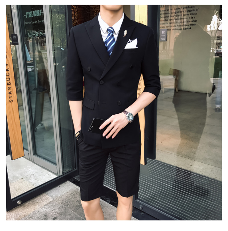 Gwenhwyfar 2018 New Black Grey Blue Coral Red Wedding Men Suit With Short Pants Fashion Young Mens Summer Wear Suits Blazer Sets Buy At The Price Of 64 17 In Aliexpress Com Imall Com