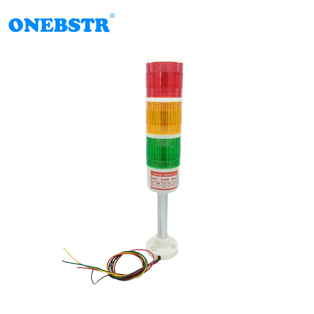 HNTD 24V LED Indicator Signal Warning Light TD55 Semaphores Rod Type Often Bright 3 Color CNC Machine Tools Free Shipping