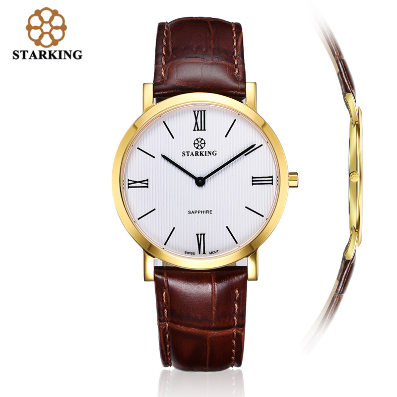 STARKING Men Watch Japan Quartz Movement 2016 Gold Leather Ultra-thin Business Watches Top Brand Luxury Wrist Watch Man Clock woonun top brand luxury gold watches men classic man clock rhinestone crystal quartz wrist watches for men thin mens watches