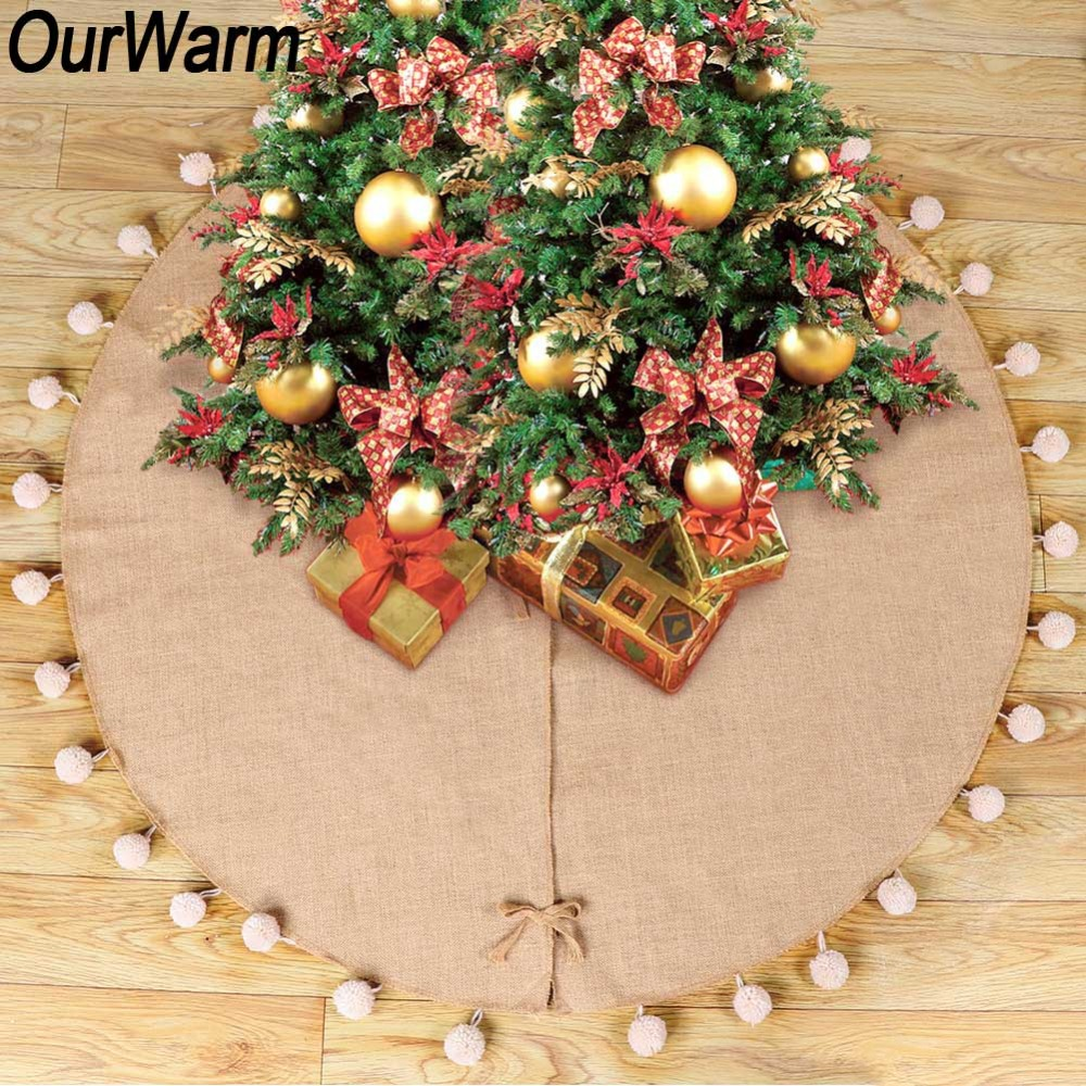 OurWarm 1pc Pom Pom Christmas Tree Skirts Rustic Holiday Decorations High Quality Burlap Tree Skirt Diameter