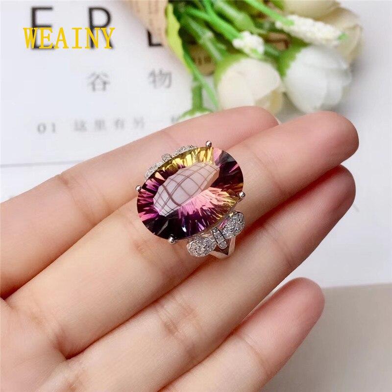 WEAINY 925 argent Sterling mode 12*16mm amétrine naturelle bague femmes bijoux Super belle améthyste bijoux