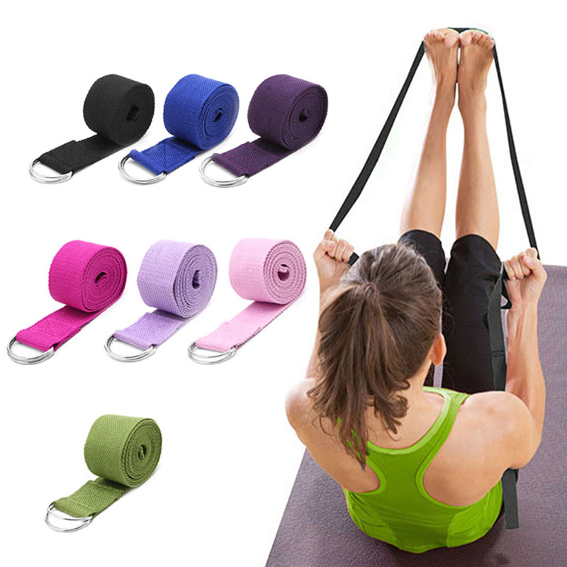<+>  Женщины Yoga Stretch Strap Multi-Colours D-Ring Пояс Фитнес-Упражнения Тренажерный Зал Веревка Рисун ✔