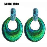 NeeFu WoFu Band Flash Leather Earrings printing Large Water Drop Big Earrings jewelry Woman Brinco Ear Oorbellen Christmas Gift