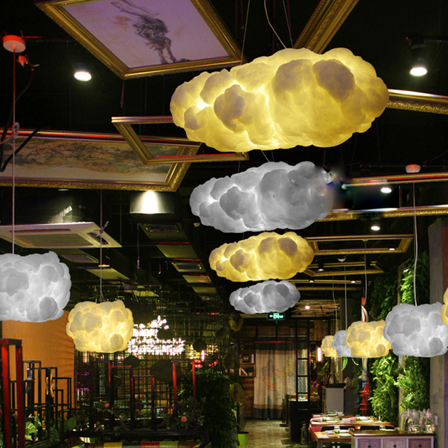 Modern Creative Romantic White Clouds Pendant Lights  Led Lightning Effect Lamp White Soft Floating Cotton Cloud Hanging Light