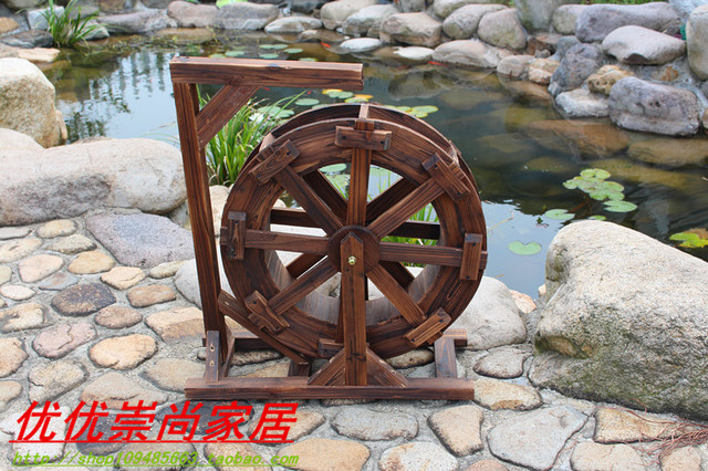 holz wasserrad transport runde h lzerne windm hle feng shui garten ornament aus wasser turbine. Black Bedroom Furniture Sets. Home Design Ideas